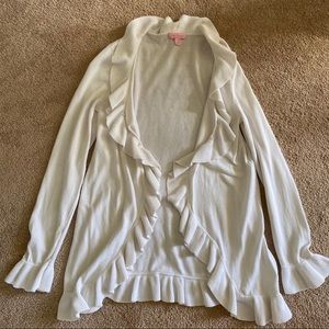 Lovely Bright White Lilly Pulitzer Cotton Cardigan